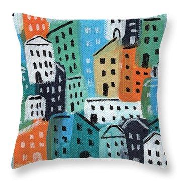 City Stories- Blue And Orange Throw Pillow