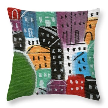 City Stories- By The Park Throw Pillow