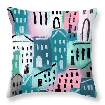 City Stories- Church On The Hill Throw Pillow