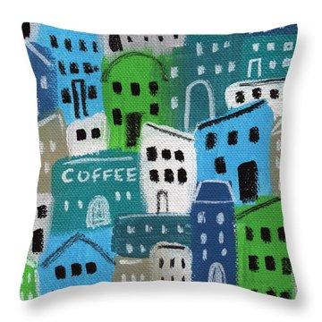 City Stories- Coffee Shop Throw Pillow