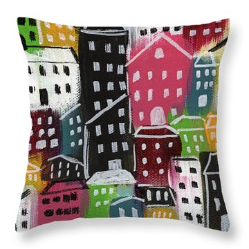 City Stories- Colorful Throw Pillow