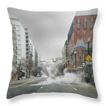 Throw Pillow featuring the photograph City Street On A Rainy Day by Francesa Miller