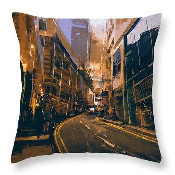 City Street Throw Pillow