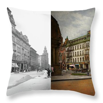 Throw Pillow featuring the photograph City - Toledo Oh - Got A Boody Call 1910 - Side By Side by Mike Savad