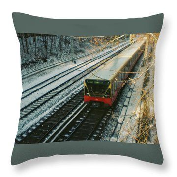 City Train In Berlin Under The Snow Throw Pillow