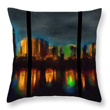 City Under A Blue Moon Throw Pillow