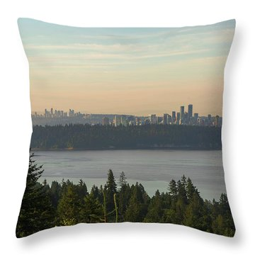 City View Of Vancouver And Burnaby Bc Throw Pillow by David Gn