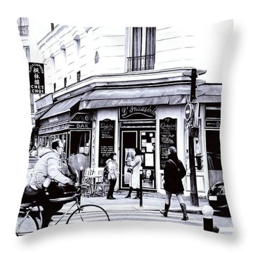 Citylife - Ballpoint Pen Art Throw Pillow