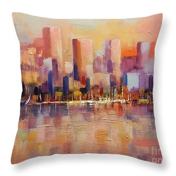 Throw Pillow featuring the painting Cityscape 2 by Rosario Piazza