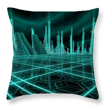 Cityscape 2010 Alpha Throw Pillow by James Christopher Hill