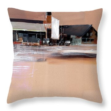 Throw Pillow featuring the painting Cityscape 3 by Anil Nene