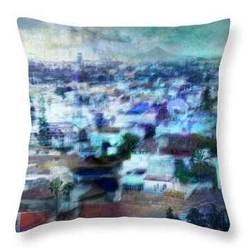 Cityscape #41 - Blue Whispers Throw Pillow by Alfredo Gonzalez