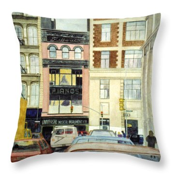 Throw Pillow featuring the painting Cityscape by Karen Zuk Rosenblatt