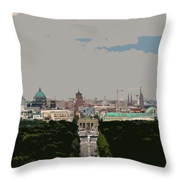 Cityscape Of Berlin - Painting Effect Throw Pillow