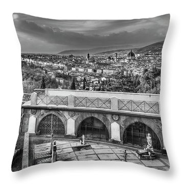 Cityscape Of Florence And Cemetery Throw Pillow by Sonny Marcyan
