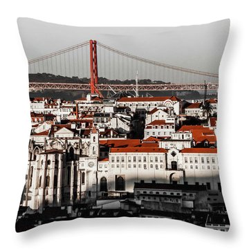 Lisbon In Black, White And Red Throw Pillow