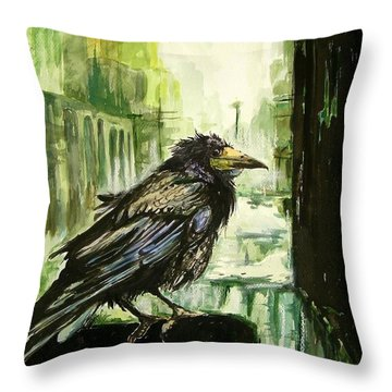 Cityscape With A Crow Throw Pillow
