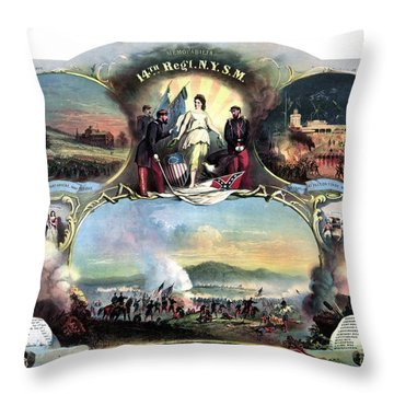 Civil War 14th Regiment Memorial Throw Pillow