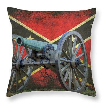 Civil War Cannon Rebel Flag Throw Pillow