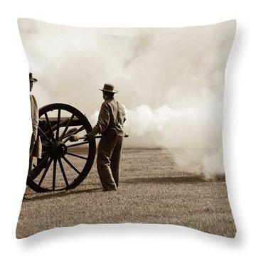 Civil War Era Cannon Firing  Throw Pillow