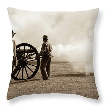 Civil War Era Cannon Firing  Throw Pillow
