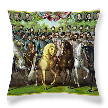 Civil War Generals And Statesman Throw Pillow