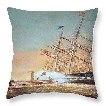 Civil War Merrimack 1862 Throw Pillow by Granger