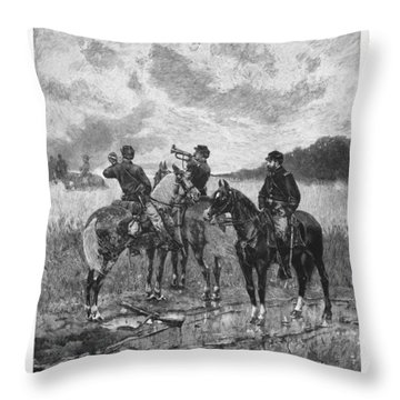 Civil War Soldiers On Horseback Throw Pillow
