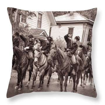 Civil War Soldiers On Horses Throw Pillow