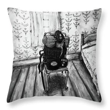 Throw Pillow featuring the mixed media Rhode Island Civil War, Vacant Chair by Monique Faella
