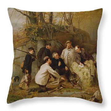 Claiming The Shot - After The Hunt In The Adirondacks Throw Pillow by John George Brown