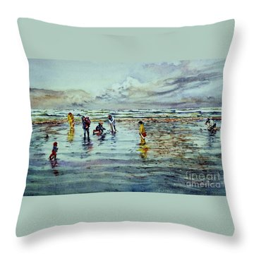 Clamdigging Family Throw Pillow