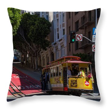 Clang Clang Goes The Cable Car Throw Pillow