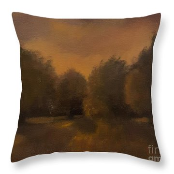 Clapham Common At Dusk Throw Pillow by Genevieve Brown