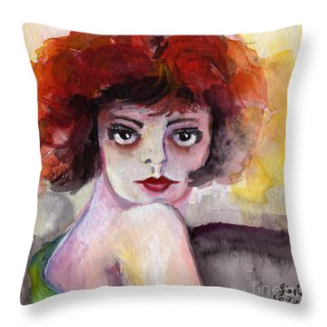 Throw Pillow featuring the painting Clara Bow Vintage Movie Stars The It Girl Flappers by Ginette Callaway
