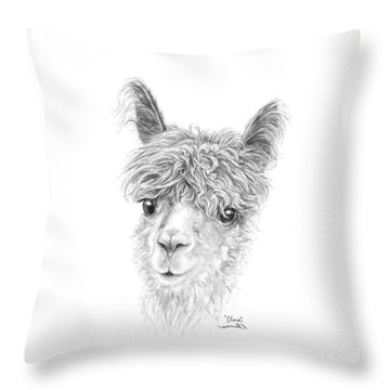 Throw Pillow featuring the drawing Clara by K Llamas