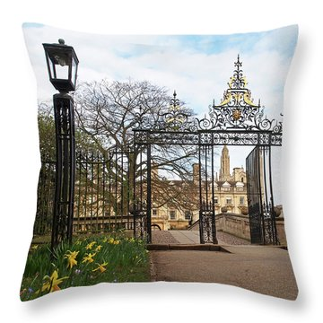 Throw Pillow featuring the photograph Clare College Gate Cambridge by Gill Billington