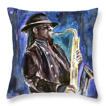 Clarence Clemons Throw Pillow by Clara Sue Beym