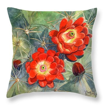 Claret Cup Cactus Throw Pillow