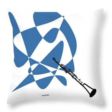 Clarinet In Blue Throw Pillow