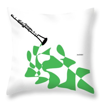 Clarinet In Green Throw Pillow