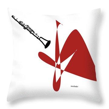 Clarinet In Orange Red Throw Pillow