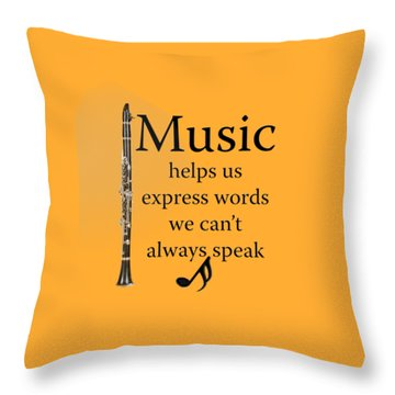 Clarinet Music Expresses Words Throw Pillow