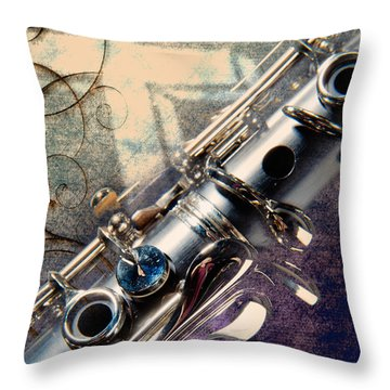 Clarinet Music Instrument Against A Cross 3520.02 Throw Pillow