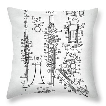 Throw Pillow featuring the digital art Clarinet Patent by Taylan Apukovska