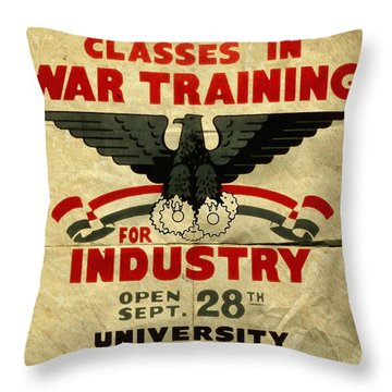 Classes In War Training For Industry - Vintage Poster Folded Throw Pillow