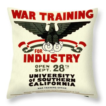 Classes In War Training For Industry - Vintage Poster Restored Throw Pillow