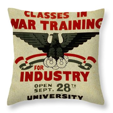 Classes In War Training For Industry - Vintage Poster Vintagelized Throw Pillow
