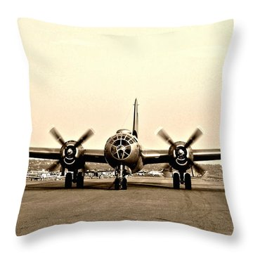 Classic B-29 Bomber Aircraft Throw Pillow by Amy McDaniel