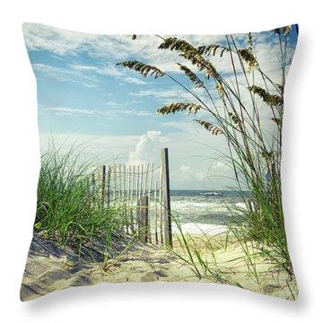 To The Beach Sea Oats Throw Pillow